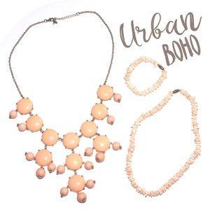 Rock chip bubble necklace bracelet bundle peach